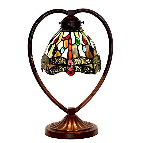 DIMPLEY Herzförmige Tischlampe, Tiffany-Stil 7-Zoll-Schlafzimmer Nachttischlampe, Buntglas-Lampenschirm-Libelle + Rose-Muster