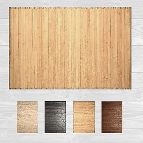 LucaHome – Alfombra bambú Uganda Ideal para Interior o Exterior, Alfombra bambú para Cocina, salón, despacho, Dormitorio con Cenefa, Alfombra de bambú Antideslizante (Natural, 80x150cm)