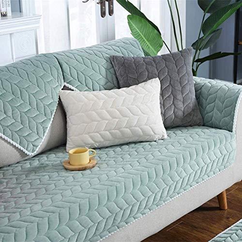 Handdoeken voor banken van zacht pluche, antislip, kussen voor banken, stoelovertrekken, comfortabele mat voor ramen, matrasbeschermer, 90 x 210 cm, groen