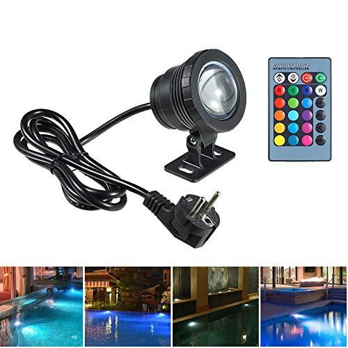 Lixada AC85-265V 10W RGB LED Unterwasserlicht Tauchlampe mit Fernbedienung 16 Farben 4 Lichteffekte IP68 Wasserdicht Design für Pool Aquarium Brunnen Weihnachten Festival Hochzeitsfunktion (Schwarz)