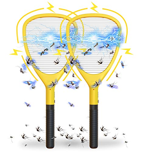 Wanqueen 2 Pack Large Electric Swatter Trap Bug Racket Mosquito, Killer High Voltage Handheld Fly Zapper, 2Pack