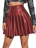 Falda de mujer de piel sintética de cintura alta con cremallera lateral, elegante línea A, plisada, borgoña, M