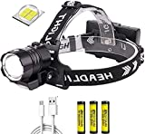 XLENTGEN Linterna Frontal LED XHP90 USB Recargable Linterna Cabeza Alta Potencia 20000 Lúmene Impermeable 4 Modos con luz COB Batería para Camping Excursión Pesca Caza Acampar Cenderismo Interiores