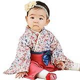Sweet Mommy 袴 ロンパース ベビー 着物 カバーオール 日本製和柄ちりめん さくらホワイト 50~70