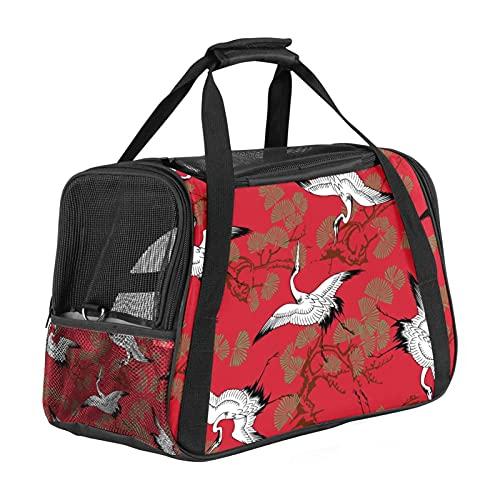 Transportador de mascotas grúas pájaros árbol rojo patrón suave mascotas transportadores de viaje para gatos, perros cachorros comodidad portátil plegable bolsa para mascotas aprobada por aerolíneas