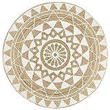 Cikonielf Alfombra tejida a mano de yute natural trenzado 150 x 150 cm alfombra de yute natural redonda alfombra dormitorio con un diseño floral moderno