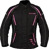 DUCHINNI Women's 4 Season Motorcycle Jacket (Black/Pink, US 14/UK 18)