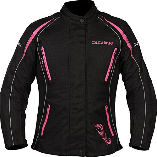 DUCHINNI Women's 4 Season Motorcycle Jacket (Black/Pink, US 12/UK 16)