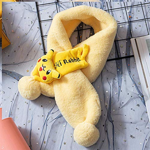 SUMHOM Bufanda cálida de Felpa para niños, Bufanda Pikachu de Dibujos Animados de otoño e Invierno-Amarillo