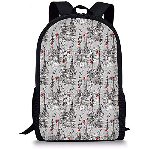 Hui-Shop Schultaschen Eiffel, Seine Laternen und Tauben auf Vintage Style Drawing Style Künstlerischer Hintergrund Rot Schwarz Grau für Jungen Mädchen