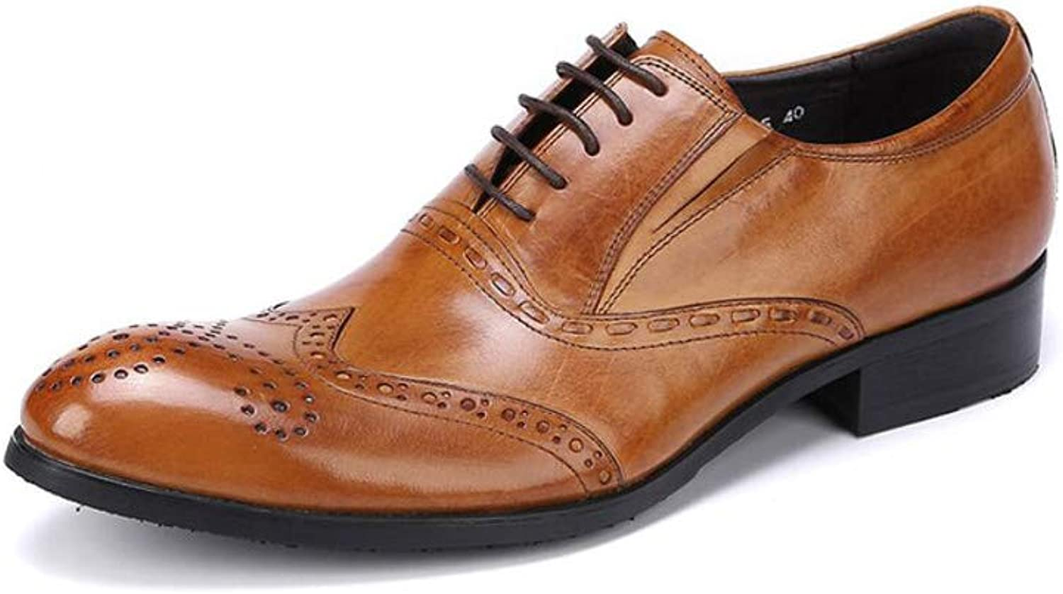 Bullock Carved shoes Men's Wear-Resistant Pointed Straps Business Men's shoes Breathable Trend Low-top shoes