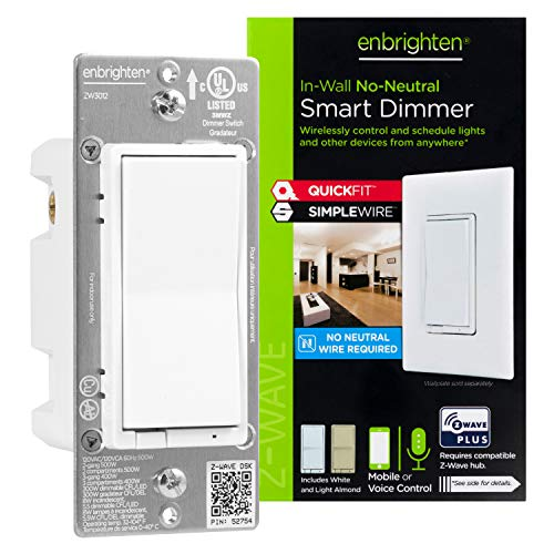 Enbrighten 52252 Z-Wave Plus Smart Light Dimmer with QuickFit and SimpleWire, Works with Alexa, Google Assistant, Zwave Hub Required, Repeater/Range Extender, 3-Way, White & Light Almond