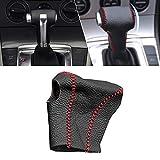 Automatikgetriebe Schaltknauf Abdeckung Leder für MAGOTAN 09-11 CC 2010 Innenausstattung Schalthebel knäufe Schwarz mit Rot Naht Modell M