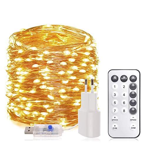 20M Led Lichterkette Innen und Außen - 200er LEDs Lichterkette Weihnachten dimmbar USB und Adapter mit Fernbedienung 8 Modi und Timer, Lichterketten warmweiße für Zimmer Deko Party Garten Balkon