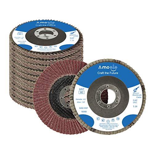amoolo Flap Disc 4-1/2 inch 7/8' Aluminum Oxide Angle Grinder Sanding Disc 80 Grit Grinder Disc T29-10 Pack