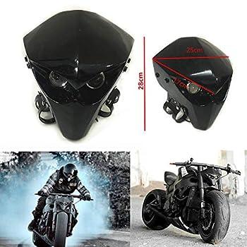 Universal Fiber Glass FRP Motorcycle Headlight Fairing Racing Skeleton Skull Headlight  Black