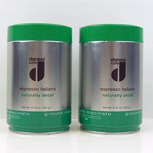 Danesi Caffe Espresso Italiano Decaf 100% Arabica Mild Coffee Ground - 8.75 oz tin (2 x 8.8 oz tins)