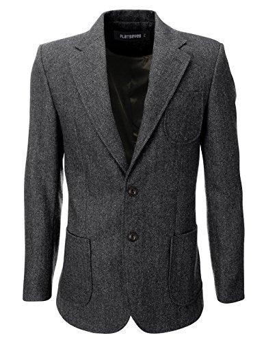 FLATSEVEN, giacca da uomo in lana con toppe a gomito e motivo a spina di pesce Grey M