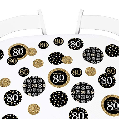Big Dot of Happiness Adult 80th Birthday - Gold - Birthday Party Giant Circle Confetti - Party Decorations - Large Confetti 27 Count