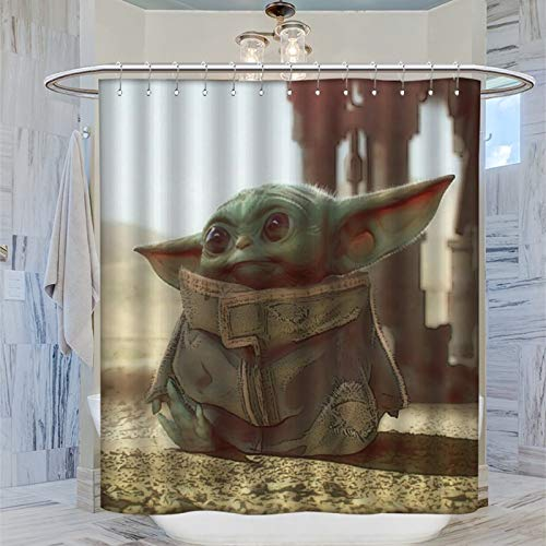 Duschvorhang aus strukturiertem Stoff, Motiv: Baby Yoda Concept Art, 183 x 183 cm