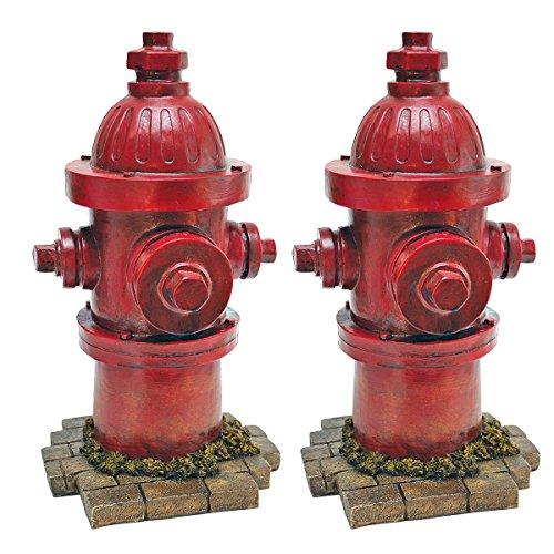 Design Toscano QL95468 Statua Idrante Il Secondo Miglior Amico del Cane Confezione da Due, 18x20.5x35.5 cm