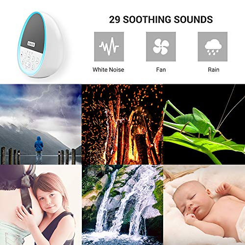 Portable Rechargeable White Noise Machine with 8 Colors Night Light, Sound Machine Improve Sleeping with 29 Non-Looping Soothing Nature Sounds and Lullaby, Ideal for Kids, Adults and Travel