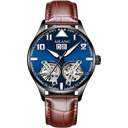 Excellent Neu Armbanduhr Herren Automatische mechanische Uhr Lederriemen Leuchtend Hände Wasserdicht,B02