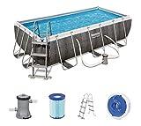 Bestway Power Steel 404x201x100 cm, Frame Pool rechteckig mit stabilem Stahlrahmen im Komplett-Set, rattan