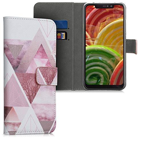 kwmobile Funda Compatible con Xiaomi Redmi Note 6 Pro - Carcasa de Cuero sintético triángulos - con Tarjetero