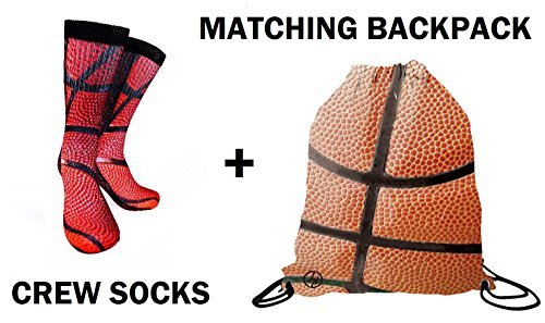 Forever Fanatics Ultimate Basketball Fan Gift Set Bundle ? Basketball Crew Socks Sizes 6-13 ? Matching Basketball Drawstring Backpack Gym Bag (Size 6-13, Basketball Gift Set)