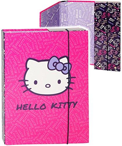 alles-meine.de GmbH Heftordner / Ordner / Heftbox - A5 -  Hello Kitty - Katze  - für Hefte, Zettel und Mappen - Glanz Druck - Gummizugmappe & Heftmappe - Mappe & Box - Ordnerma..