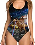 TUONROAD 3D Printing Funny One-Piece Swimsuit Navy Blue Galaxy Planet Sloth Dinosaur Vintage Plus Size Slimming Low Back Straps V Neck Swimwear Bathing Suit Monokini for Womens Girls Ladies Youth