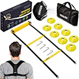 OD&DO Agility Training Set - Only Ladder Speed Equipment with Back Support Workout & Football Kit - Durable Sports Equipment - Running & Resistance Parachute for All Ages (7 Items)