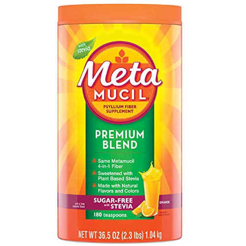 Metamucil Premium Blend Fiber, 180 Servings, Psyllium Husk Fiber Powder Supplement, Sugar Free with Stevia, Natural Orange Flavor, 6 Month Supply