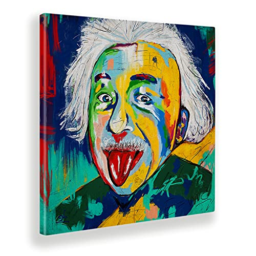 Giallobus - Quadro - Einstein - Tela Canvas - 50x50 - Pronto da Appendere - Quadri Moderni per la casa