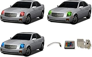 FLASHTECH for Cadillac CTS 03-07 V.3 Fusion Color Change RGB Multi Color LED Halo Ring Headlight Kit with IR Remote