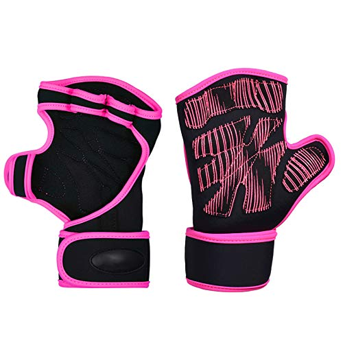 CHAOBANG Mujeres Fitness Medios Guantes, Guantes Antideslizantes Que Absorben los Golpes Transpirable Deportes al Aire Libre equitación Escalada Yoga de la Aptitud Deportes para Guantes,Pink s/m