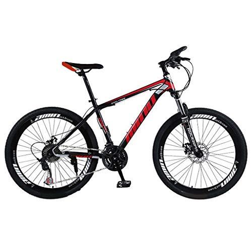 Bike 26 Pollici Mountain 21 velocità, Cruiser Bicycle Beach Ride Travel Sport, Doppio Freno a Disco, per Adulti, Mountain Sedile Regolabile Cruiser Bicycle (Rosso)