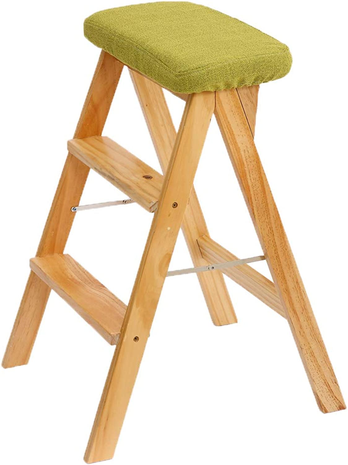 Step Stool High Chair Wooden Ladder Staircase Shelf Stepladder Furniture Wood Folding Widened Multifunction Kitchen Office Home Modern Simple Height 63cm