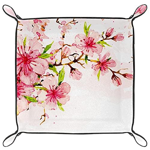 Joyeria de cuero para mujer valet Tray Snap Buckle Design Dice Holder Cambio Key Wallet Monedero Bandeja de almacenamiento Mesita de noche, flor de cerezo