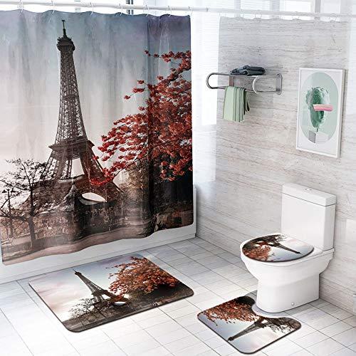 Tapis de salle de bains DAMAI MAGASIN Tapis de sol Paris Tour modèle rideau de douche siège de toilette salle de bains tapis quatre pièces absorption d