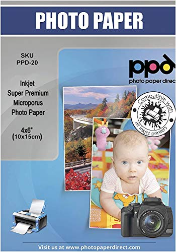 """PPD Inkjet - 4 x 6"""" (aprox. 10 x 15 cm) x 100 Hojas de Papel Fotográfico Brillante Super Premium - Gramaje de 280 g/m² y Secado Instantáneo - Calidad Profesional - Apto para Todas Impresoras de Inyección de Tinta - PPD-20-100"""