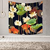 Leowefowa Japanese Style Tapestry Lotus Pond Landscape Tapestry Waterlily Green Lotus Leaves and Goldfish Wall Hanging Home Decoration Living Room Bedroom Dorm Decor 59.1'x59.1' Wall Tapestry