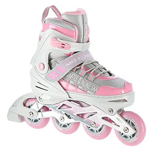 Nils Extreme Diva - Patines en línea para niña y mujer (ABEC 7, tallas 35-38, ajustables), color gris y rosa