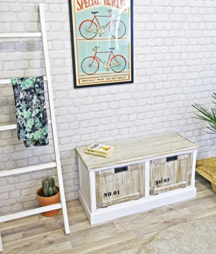 My Flair Riviera Schuhkommode/Sitzbank/Sideboard, französicher Landhausstil mit Shabby-Chic, 0784JO