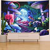 Trippy Mushroom Tapestry Psychedelic Plant Wall Tapestry Fantasy Space Wall Tapestry Magic Cave Tapestry Fairy Tale Tapestry Wall Hanging for Room (51.2 x 59.1 inches)