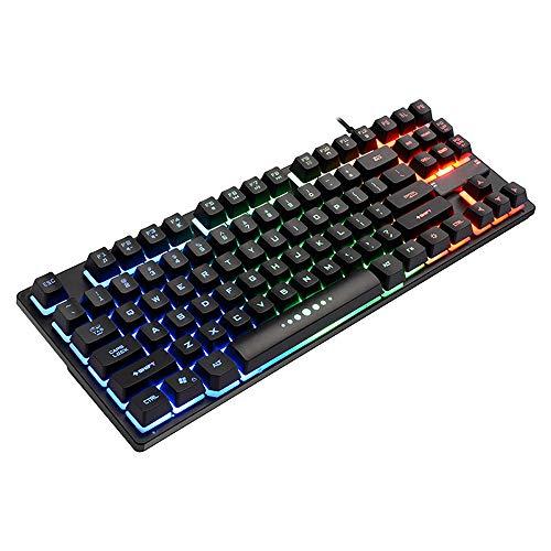 Mechanisch gaming-toetsenbord 87 toetsen 60% klein mechanisch toetsenbord, voor Windows PC-gamers (zwarte kleurrijke RODE LED-achtergrondverlichting)