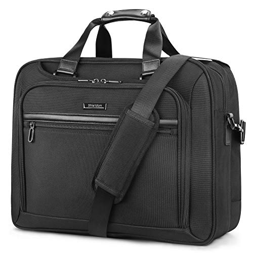 SHIELDON laptoptas, aktetas 17 inch, notebooktas voor 15,6-17,3 inch, waterafstotende schoudertas met accessoirevak en schouderriem, heren Messenger Bag Business voor MacBook, zwart
