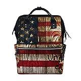 LINDATOP - Mochila de viaje con diseño de bandera americana, estilo retro, con gran capacidad y multifunción, elegante y duradera