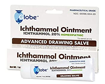 Globe Ichthammol Ointment 20%  Drawing Salve  1 OZ   Pharmaceutical Grade****  Soothing Skin Relief and Treatment of Eczema Psoriasis and Acne  Ichthammol 20% with Minimized Scent  